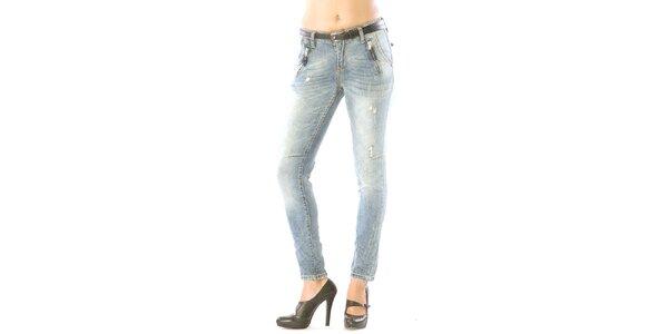 Dámske svetlo modré džínsy s odreninami Silvana Cirri