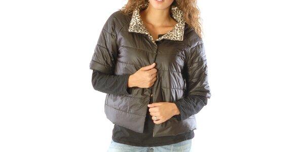 Dámsky obojstranný leopardí kabátik s čiernou stranou Silvana Cirri