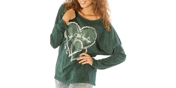 Dámske zelené tričko so srdiečkami a flitrami Silvana Cirri