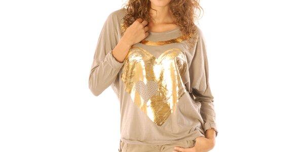 Dámske béžové tričko so zlatým srdiečkom Silvana Cirri