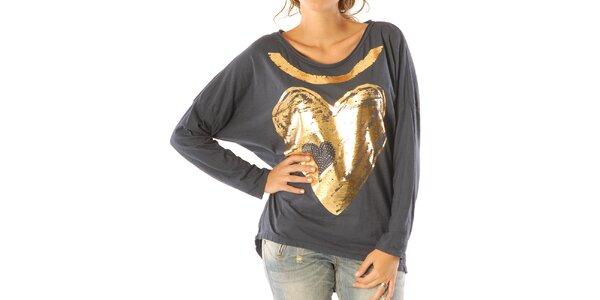 Dámske tmavo modré tričko so zlatým srdiečkom Silvana Cirri