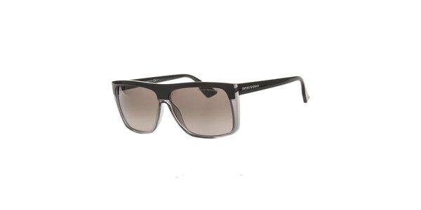 Pánske čierno-šedé slnečné okuliare Emporio Armani
