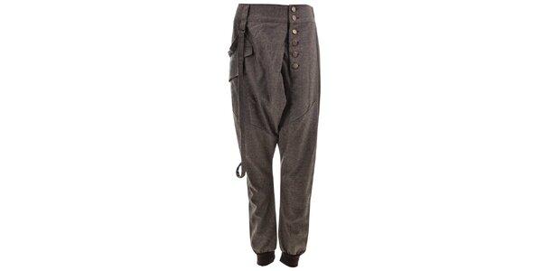 Dámske šedé nohavice na gombíky Purple Jam