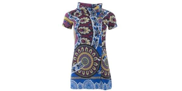 Dámske farebne vzorované tričko s golierom Purple Jam