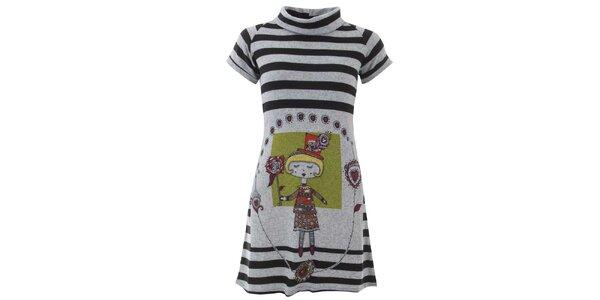 Dámske pruhované šaty s dievčaťom Purple Jam