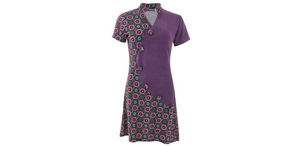 Dámske fialové vzorované šaty s gombíkmi Purple Jam