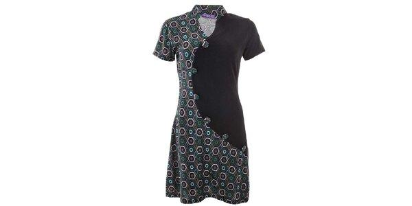 Dámske vzorované šaty s gombíkmi Purple Jam