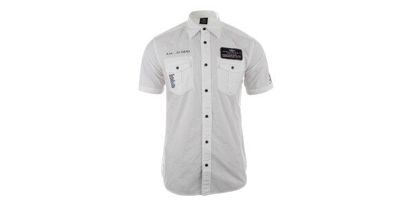 Pánska biela košeľa s vreckami Aeronautica Militare