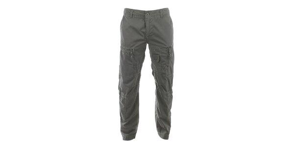 Pánske šedé nohavice s veľkým množstvom vreciek Aeronautica Militare