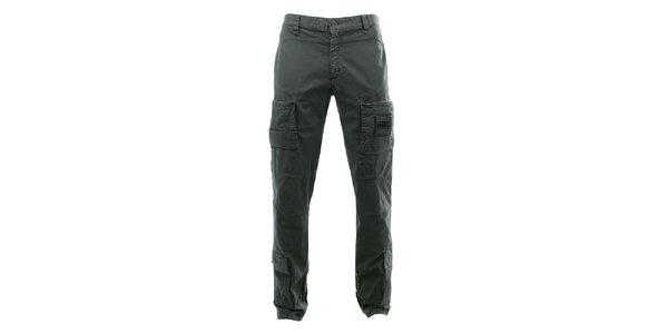 Pánske tmavo šedé nohavice s niekoľkými vreckami Aeronautica Militare