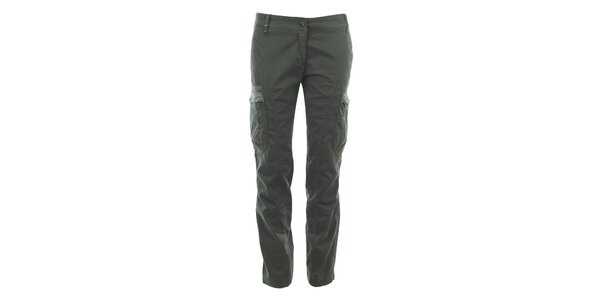 Dámske šedé nohavice s vreckami na nohaviciach Aeronautica Militare