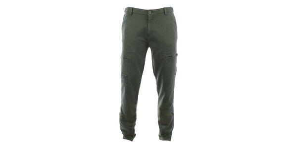 Pánske khaki nohavice so zipsovými vreckami Aeronautica Militare