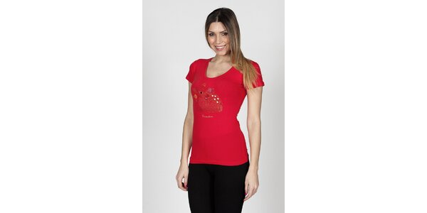 Dámske červené tričko Braccialini so psíkom