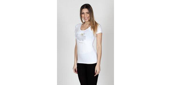 Dámske biele tričko Braccialini so sedmikráskou