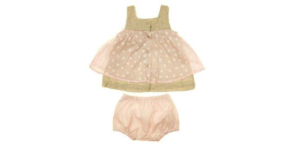 Detský ružovo-béžový set tuniky a nohavíc Lullaby