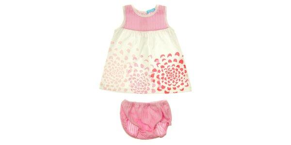 Dievčenský ružový set s kvetinovým vzorom a nohavičkami Lullaby