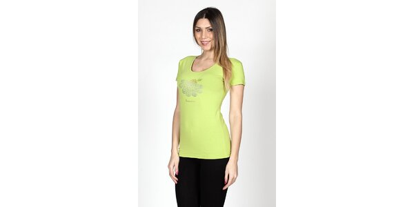 Dámske limetkové tričko Braccialini so sedmikráskou