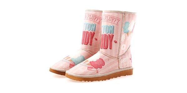 Dámske ružové topánky s nápisom Elite Goby