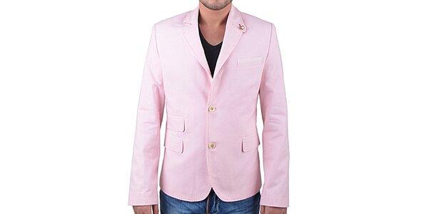 Pánske ružové sako s obrázkovou podšívkou RNT23