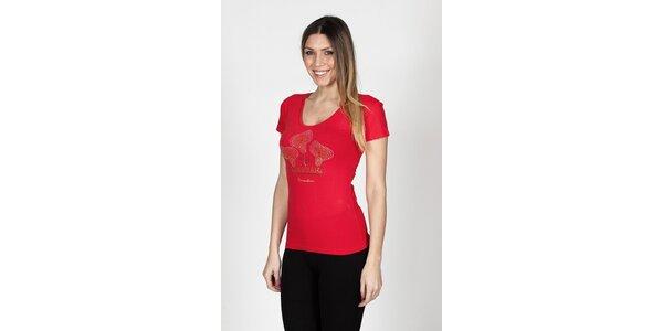 Dámske červené tričko Braccialini s tropickými kvetmi