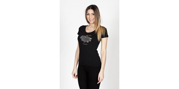 Dámske čierne tričko Braccialini so sedmikráskou