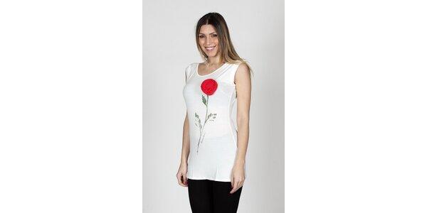 Dámske biele tielko Braccialini s ružou
