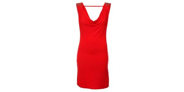 Dámske červené šaty Victoria Look s korálkami