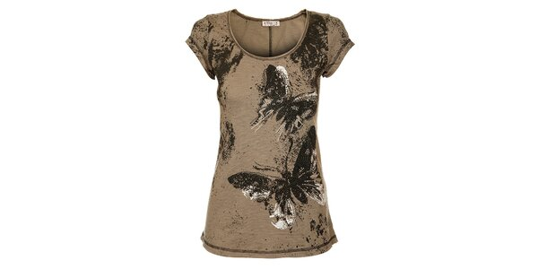 Dámsky svetlo hnedý top Victoria Look s motýlmi