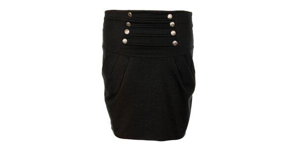 Dámska čierna sukňa Victoria Look s kovovými gombíčkami