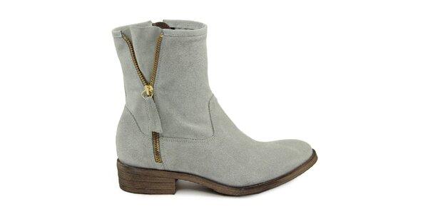 Dámske semišové topánky so zlatým zipsom Giorgio Picino