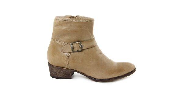 Dámske hnedobéžové kožené topánky s prackou Giorgio Picino