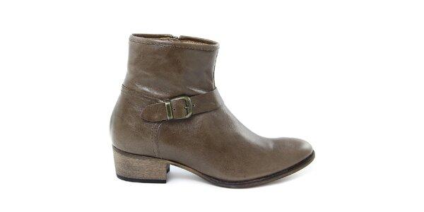 Dámske hnedé kožené topánky s prackou Giorgio Picino