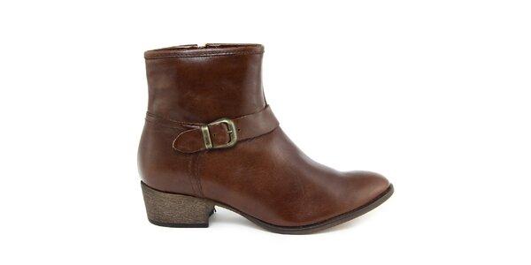 Dámske tmavo hnedé kožené topánky s prackou Giorgio Picino