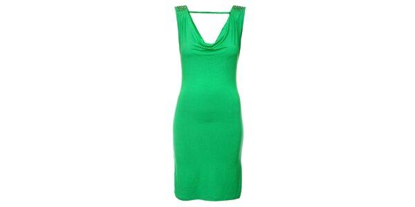Dámske sýto zelené šaty Victoria Look s korálkami