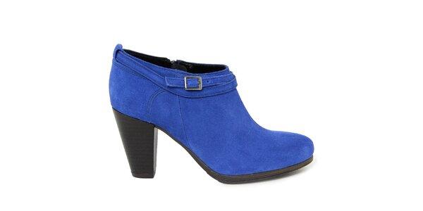 Dámske modré semišové topánky na opätku Giorgio Picino