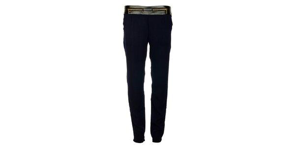Dámske tmavo modré nohavice Victoria Look so zlatými zipsami
