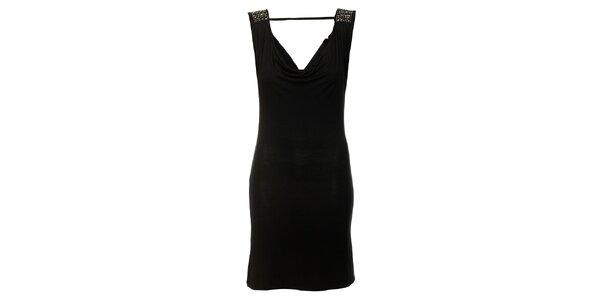 Dámske čierne šaty Victoria Look s korálkami