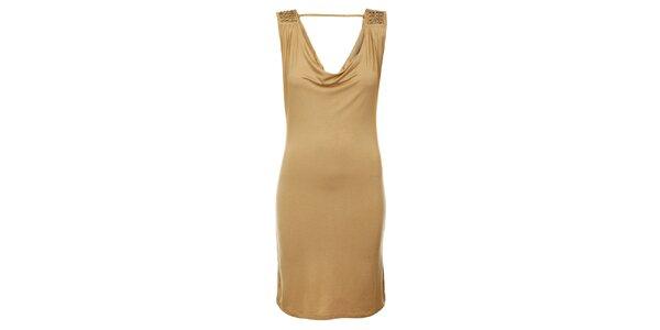 Dámske svetlo béžové šaty Victoria Look s korálkami