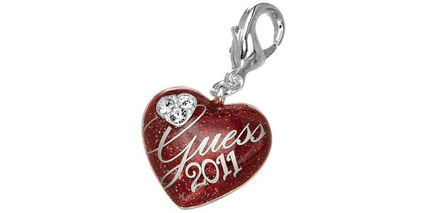 Dámsky srdcový prívesok s nápisom a kamienkami Guess
