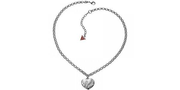 Dámsky oceľový náhrdelník so srdiečkom Guess