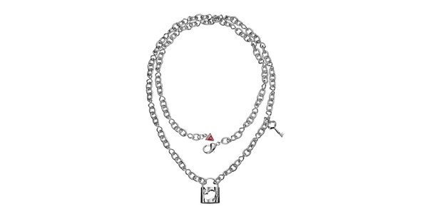 Dámsky náhrdelník so zámčekom a kľúčom Guess