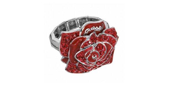 Dámsky prsteň s červenou ružou Guess
