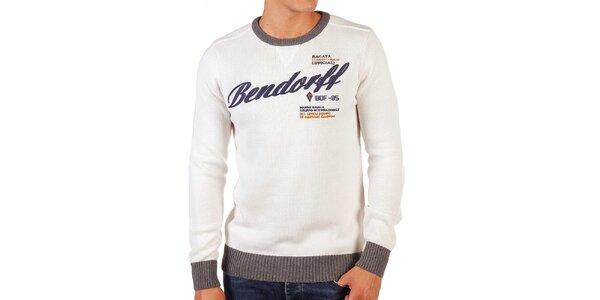 Pánsky krémový sveter s kontrastnými lemami Bendorff