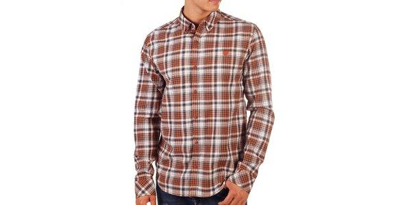 Pánska oranžovo károvaná košeľa Bendorff