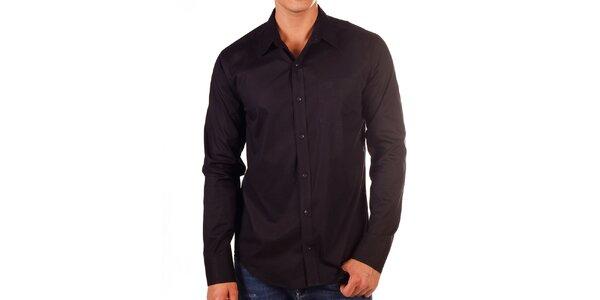 Pánska čierna košeľa s vreckom na hrudi Bendorff