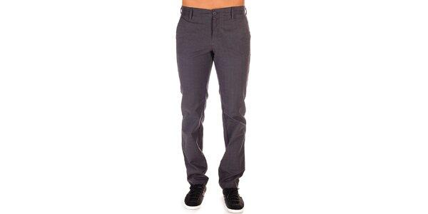 Pánske šedé nohavice s jemným kockovaným vzorom Bendorff