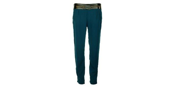 Dámske indigové nohavice Victoria Look so zlatými zipsami