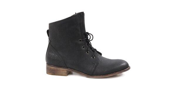 Dámske čierne šnurovacie topánky Drastik