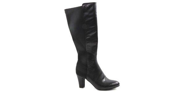 Dámske čierne elegantné čižmy na opätku Drastik