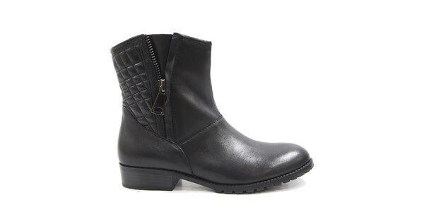 Dámske čierne členkové topánky s prešívaním Drastik